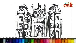 How to draw Red Fort Lal Quila Drawing step by step # Delhi लाल किल्ला