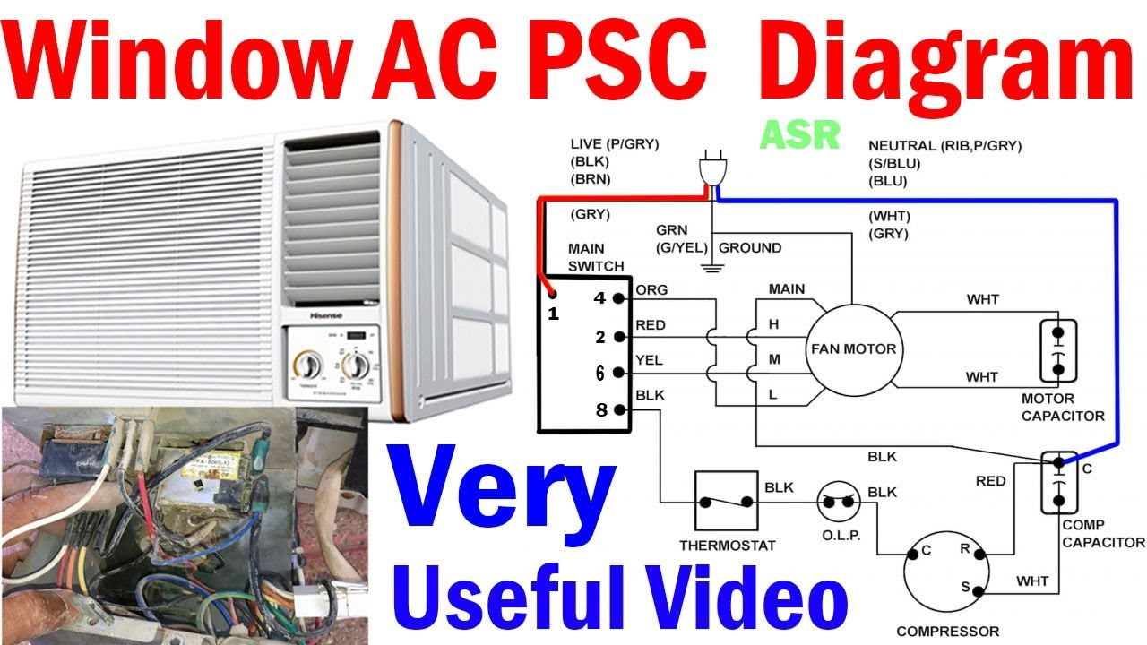 Window AC PSC Wiring Diagram Capacitor selector switch Blower Motor  complete wiring diagram - YouTube | Window Unit Air Conditioner Wiring Diagram |  | YouTube