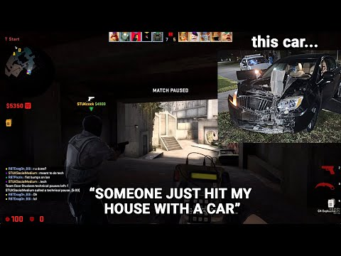 A F#&*ING CAR CRASH INTO PLAYER'S HOUSE *LIVE* ON STREAM...