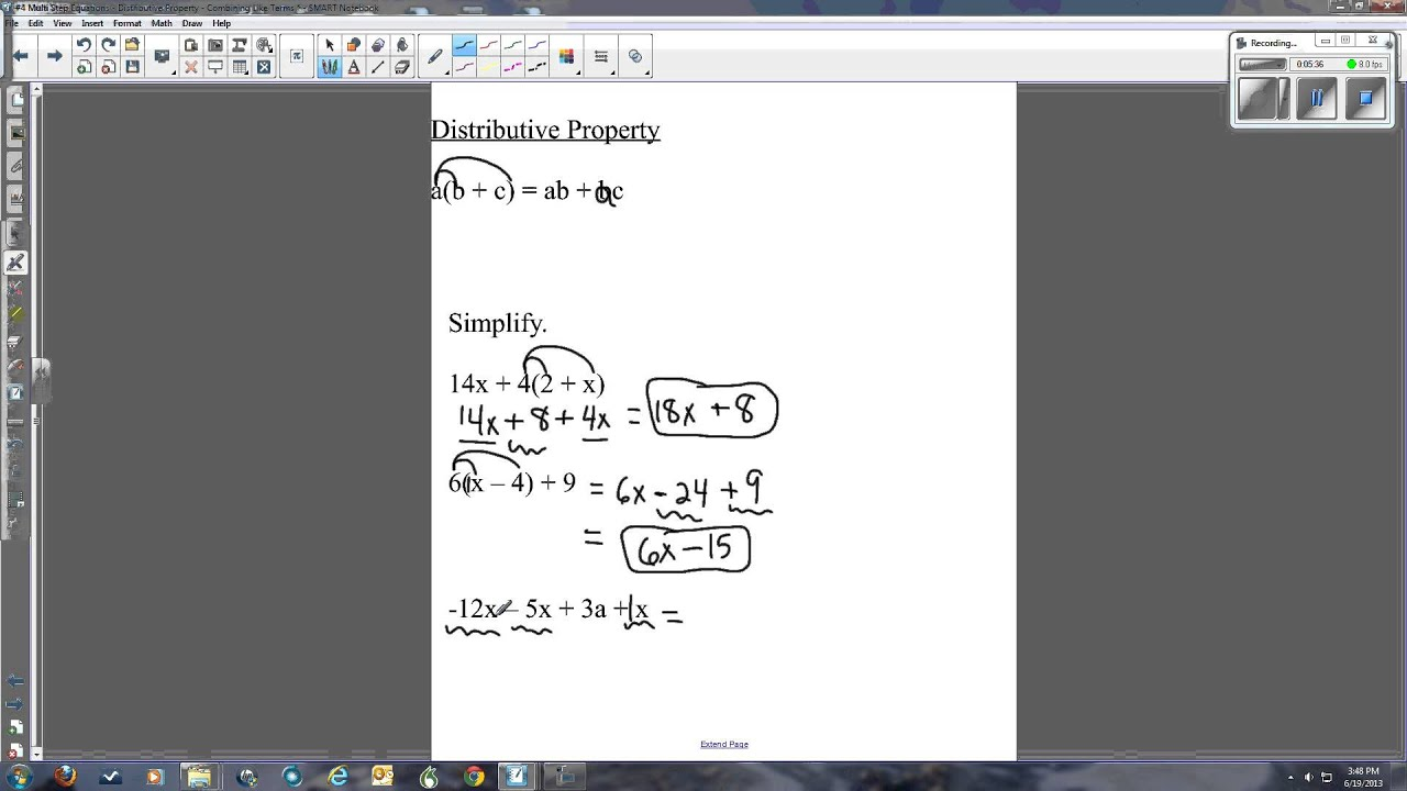 Ccss Multi Step Equations Distributive Property Combining