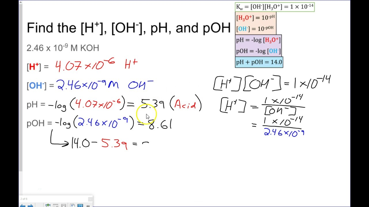 pH pOH Calculations YouTube – Ph and Poh Worksheet