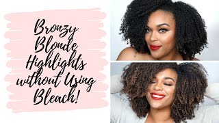 Bronzy Blonde Highlights without the Bleach | DIY Natural Hair Highlights
