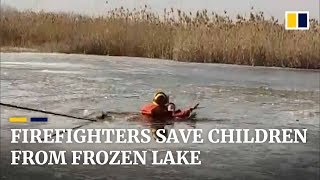 Firefighters save children from frozen lake in Xinjiang