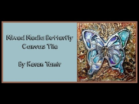 Butterfly Art Tile with Alcohol inks and Finnabair Wax