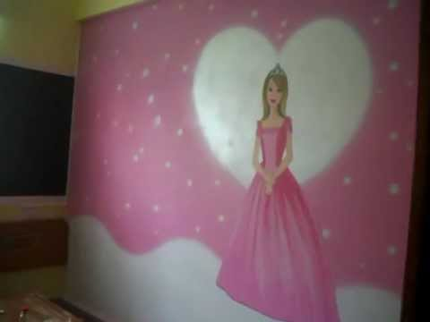 Girls Bed Room Wall Painting in Hyderabad | Barbie Theme ...
