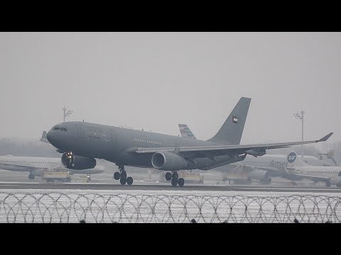 Airbus A330-243MRTT from the United Arab Emirates Air Force UAE arrival at Munich Airport