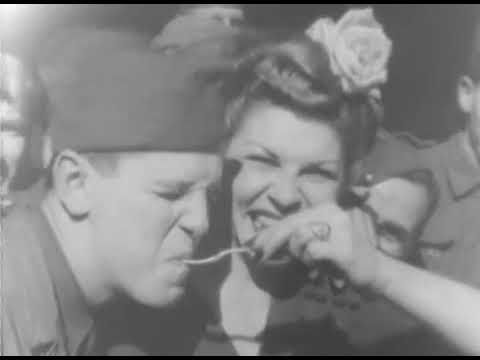 WW2: USO Actresses Kay Francis, Carol Landis and Martha Raye Eat and Chat with Soldiers in Europe