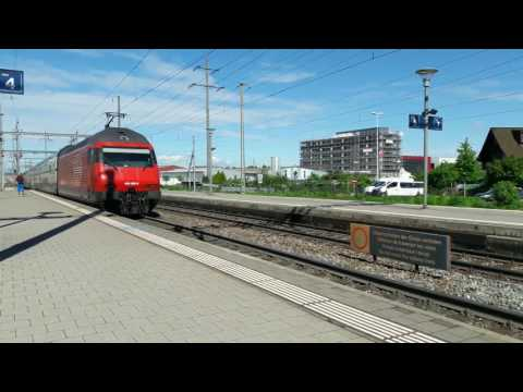 Basel Pratteln station Switzerland freight+passenger trains May 17