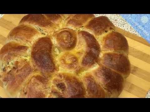 Шикарный слоеный хлеб на густой закваске 50% влажности с творожной начинкой