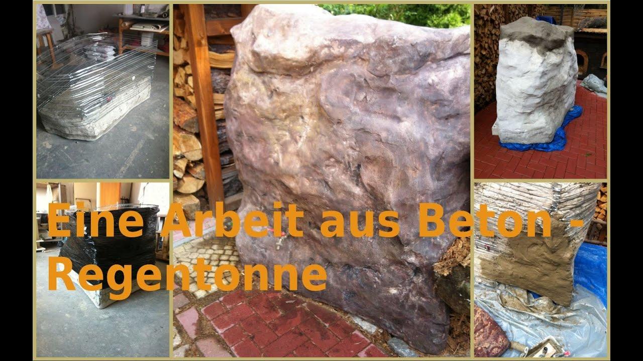 eine arbeit aus beton felsen regentonne - youtube