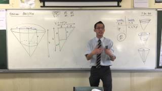 Volume within a Cone (2 of 3: Finding Volume in terms of a single variable to differentiate)