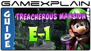 Luigi's Mansion 2: Dark Moon: Treacherous Mansion E-1 Gem, Boo & Puzzle Guide & Walkthrough (100%!)