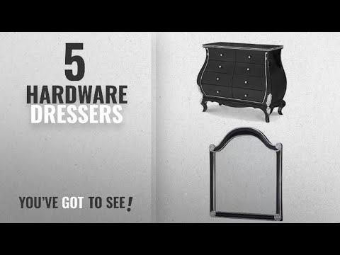 Top 10 Hardware Dressers [2018]: Michael Amini Hollywood Swank Bombe Chest and Mirror, Black Iguana