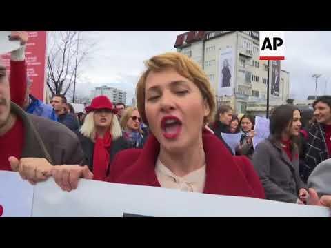 Kosovo protest march marks International Women's Day