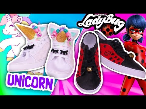 🐞 LADYBUG & UNICORN 🦄 Customized SNEAKERS – Crafts & Decor!