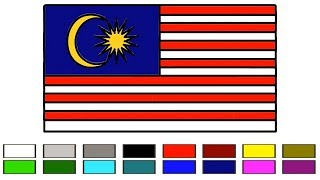 How To Draw Malaysia flag for Kids Coloring Learn Step by Step || Malaysian flag || Little Channel