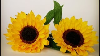 how to make sunflower from crepe paper craft tutorial