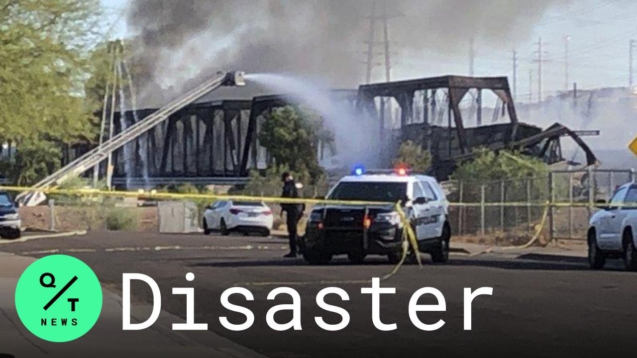 Train derailment, massive fire on bridge over Tempe Town Lake