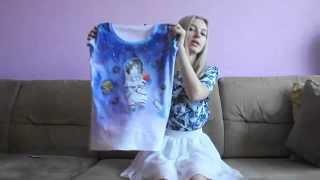 Рисуем космического кота на футболке! Акрил, японский контур и казус с батиком.| Рисунок по ткани.