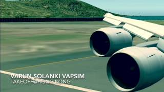 FS2004 VATSIM Boeing 747-8 takeoff from Hong Kong
