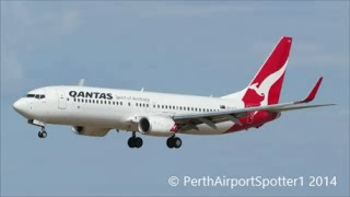qantas boeing 737 800 landing at perth airport runway 03 per ypph brsbane airport ybbn