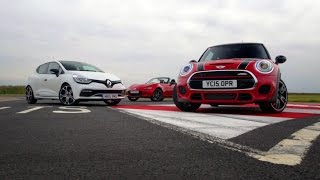 Shootout - 2015 Mazda MX-5 vs Mini Cooper S JCW,  Renault Clio RS 220 Trophy and Toyota GT 86