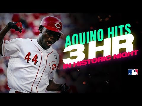 Reds rookie Aristides Aquino GOES OFF for 3 home runs