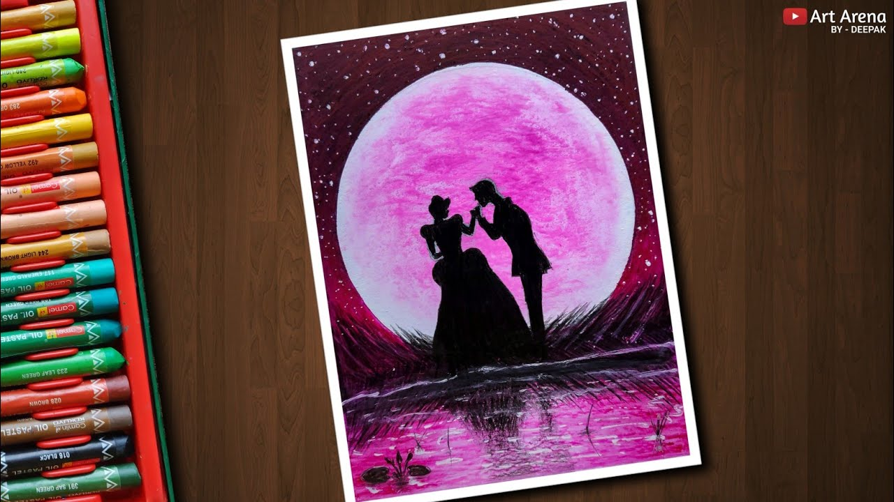 Cinderella With Prince Charming Moonlight Drawing With Oil Pastels