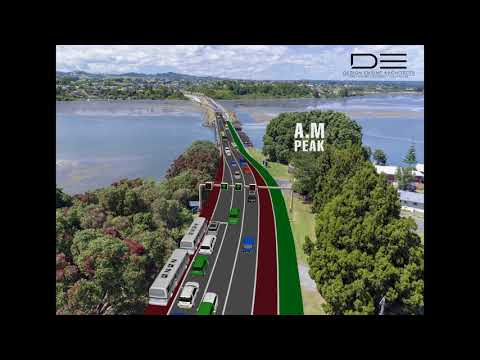 Design Engine Architects Turret Road Bridge Tidal-flow example - 5-lanes example