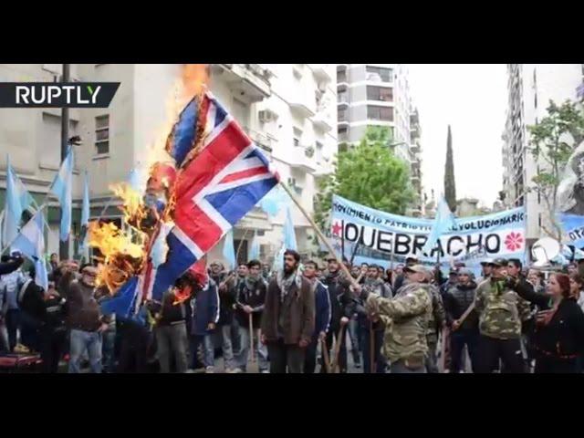 Hundreds protest British military excercises in UK-occupied Malvinas ('Falklands')