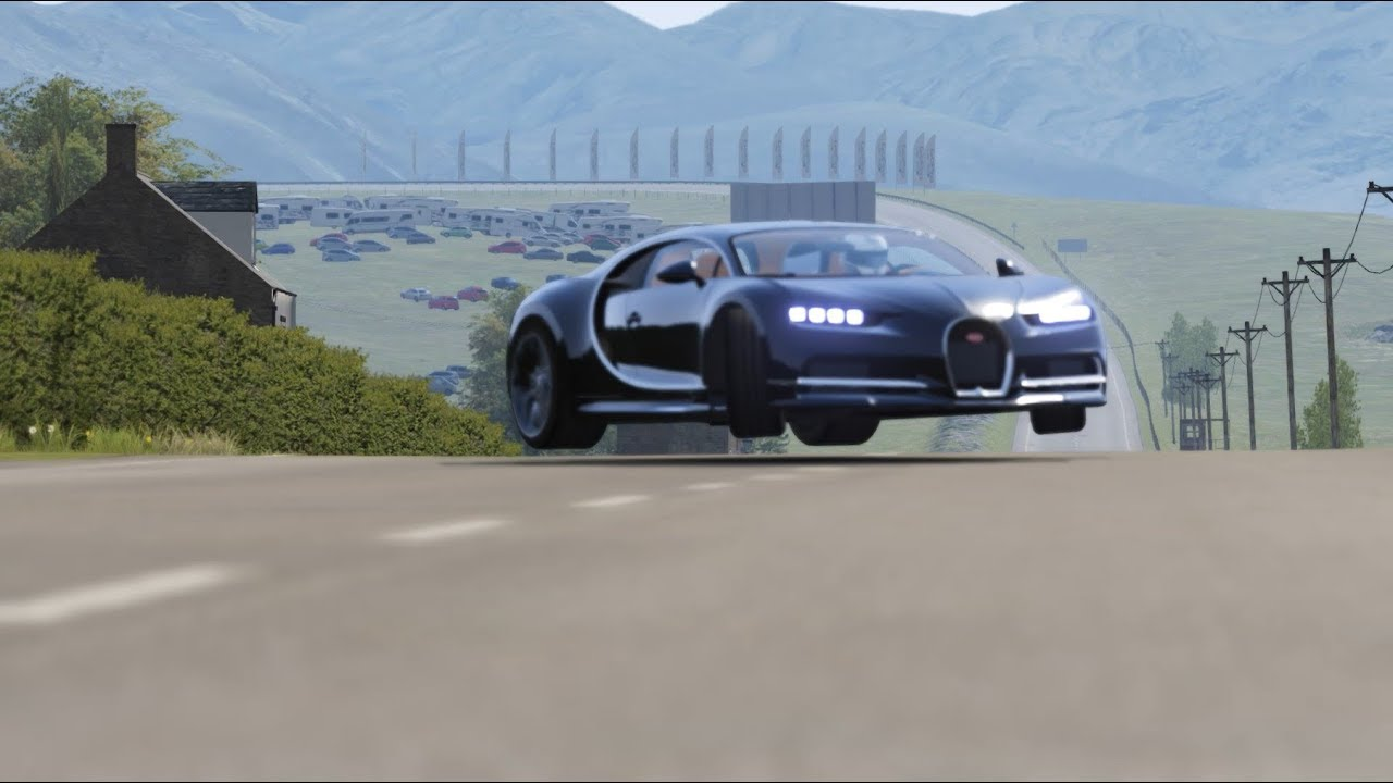 Bugatti Chiron Making a Crazy Jump in Highlands