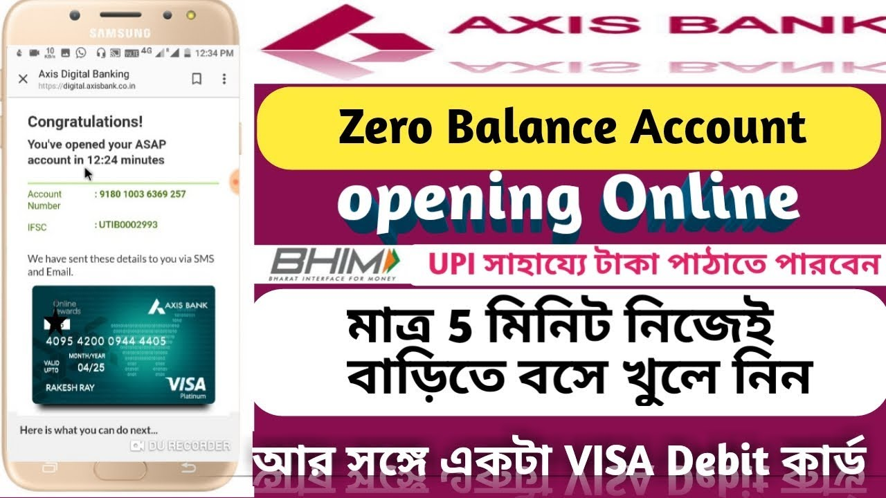 Axis Bank Zero Balance Online Account Opening Axis Bank Saving