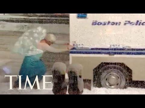Man Dressed As Elsa Rescues Boston Police Wagon From A Very Frozen Mishap | TIME
