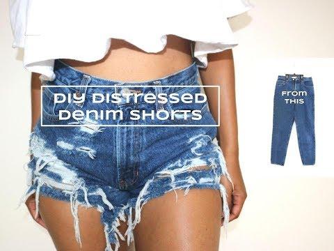 DIY [Refashion] High Waist Distressed Denim Shorts