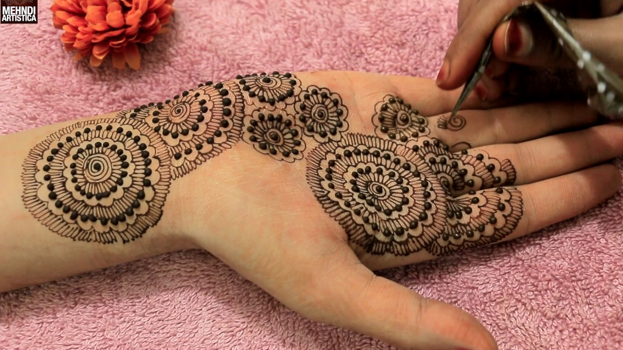Floral Henna Designs: Circular Dotted Floral Henna Mehndi Designs
