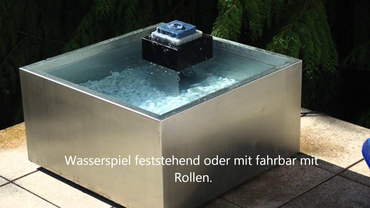 Brunnen aus Edelstahl mit Granit
