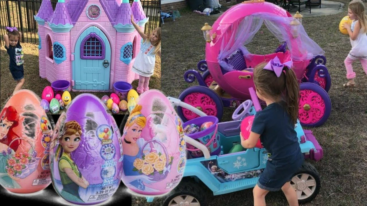 Disney Princess Carriage Castle Easter Egg Hunt Frozen Jeep Surprise Opening Candy