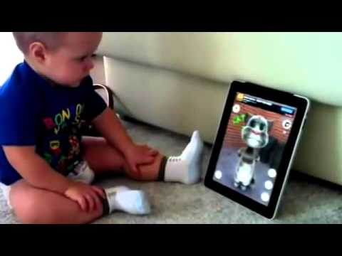 Funny Baby vs  Tom The Talking Cat, on an iPad   Funny Videos