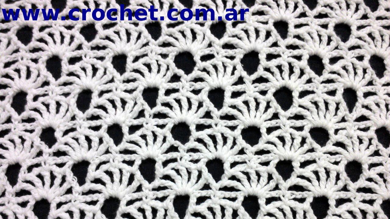 PUNTO fantasía N° 73 en tejido #crochet o ganchillo tutorial paso a ...