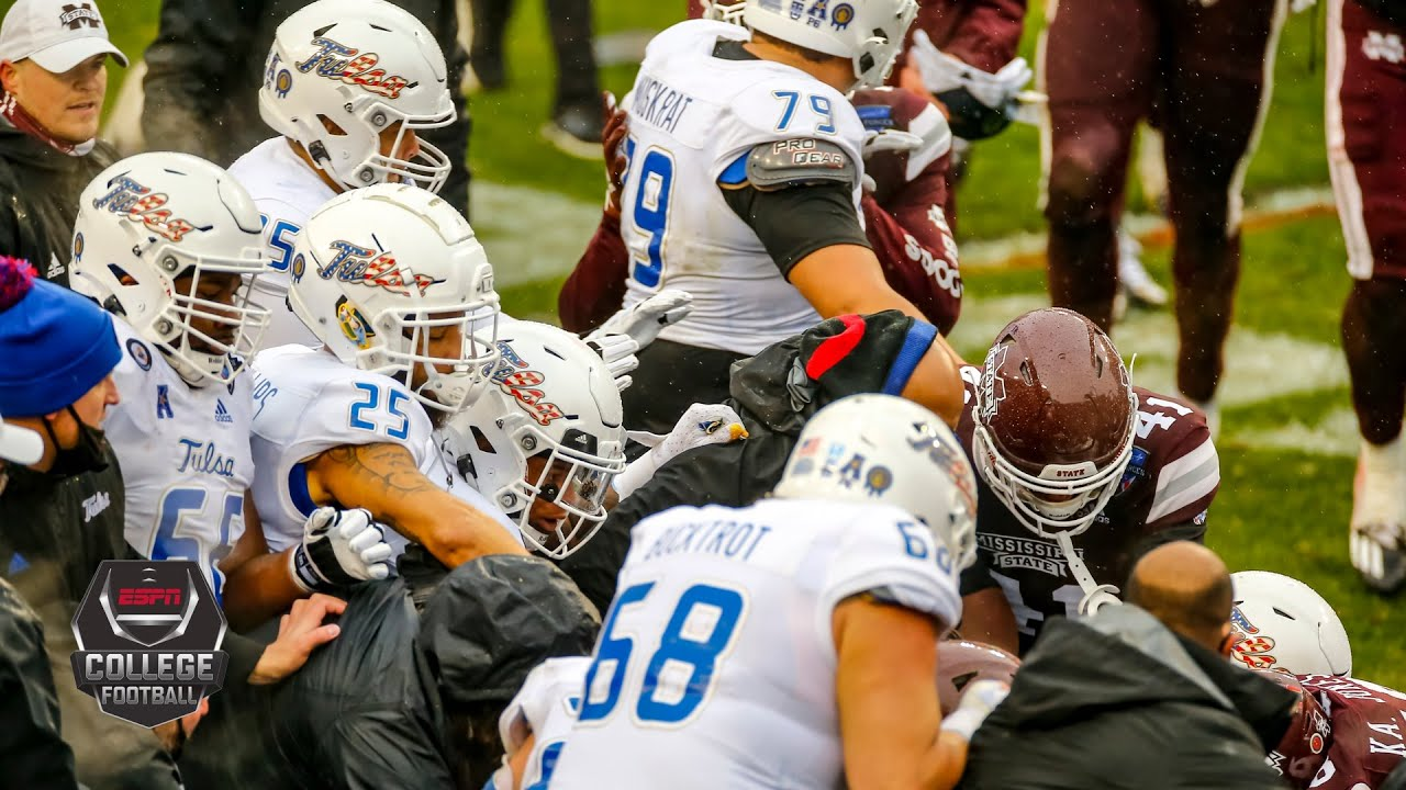 See Mississippi State, Tulsa football brawl to end the game at the ...