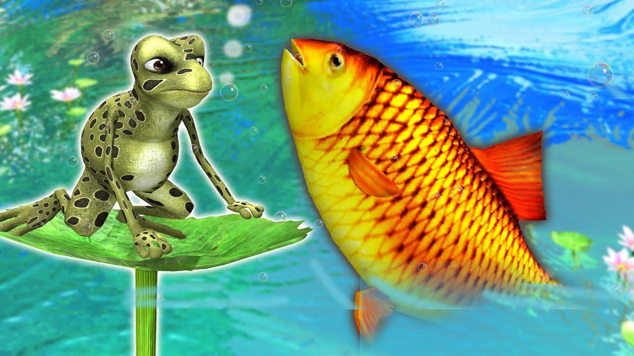 मेंदक की सूझभूज और मछलियां Clever Frog and Fishes kahani - Panchatantra ki Kahaniya - 3D Stories