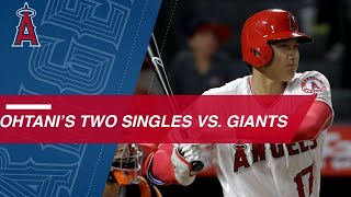 Ohtani singles twice against the Giants