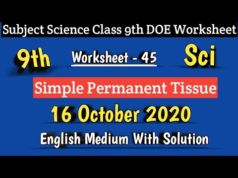 Class 9 Worksheet 45 Science I DOE Worksheet 45 I 16 Oct 2020 I English Medium I Science