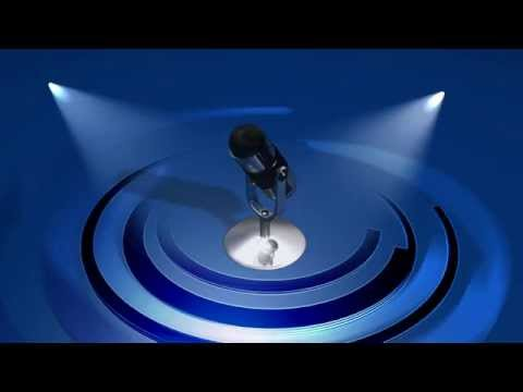 Spinning Microphone & Blue Circle