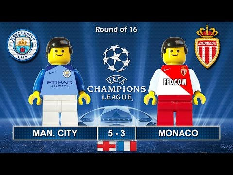 MANCHESTER CITY vs MONACO 5-3 • Champions League 2017  21/02/2017 ( Film Lego Football Highlights )