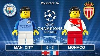 MANCHESTER CITY vs MONACO 5-3 • Champions League 2017  21/02/2017 ( Film Lego Football Highlights )
