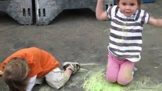 Twins Bingo and sidewalk chalk