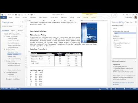 MS Word Accessibility Checker (7 of 8 videos)