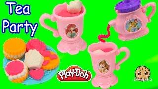 Frozen Queen Elsa & Anna Have Play-doh Disney Princess Tea Cookie Party - Video Cookieswirlc