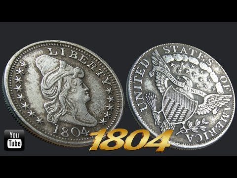 united states of america silver coin 1804  | 4K